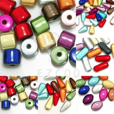 Mixed Acrylic Miracle Beads 3D Illusion Loose Cylinder/Teardrop/Oval/Capsule