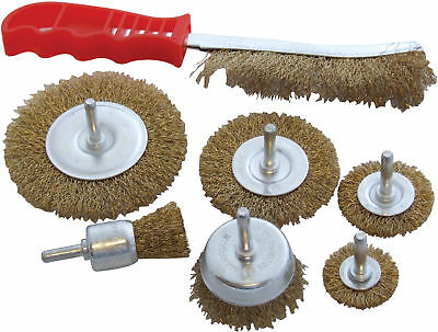 7pc Wire Brush Set Wheel Brushes Brass Hand Brush Wheel Rotary Cleaning Drill