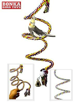 1045 SM ROPE BUNGEE BOING COIL SWING BIRD TOY parrot cage toys conures cockatiel