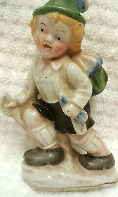 Vintage MADE IN OCCUPIED JAPAN Miniature  Figurine - Boy Going Hiking