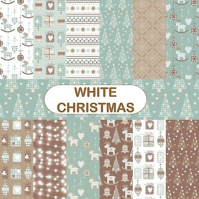 WHITE CHRISTMAS SCRAPBOOK PAPER - 12 x A4 pages