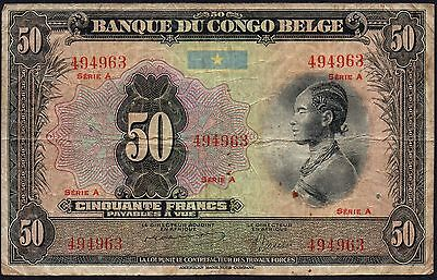 ND (1941-42) BELGIAN CONGO 50 FRANCS BANKNOTE * 494963 * F-gF * P-16a *