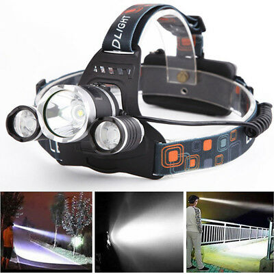 3000lm T6 3x Xm-l LED Headlamp Head Torch Rechargeable Outdoor Headlight New