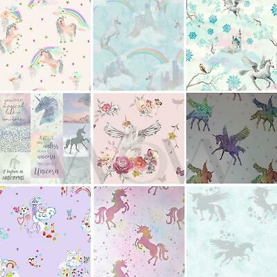 Unicorns Horses Wallpaper Kids Girls Bedroom - Lilac Pink White Purple Glitter