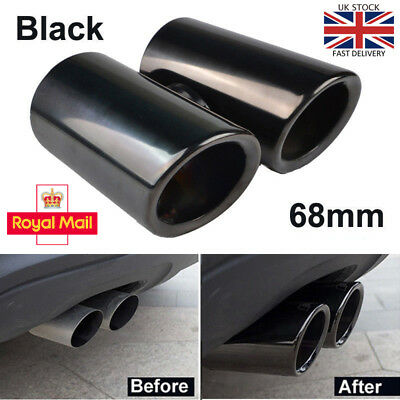 2× 68mm Black Stainless Steel Exhaust Pipes Rear Muffler Tip VW Golf VI Scirocco