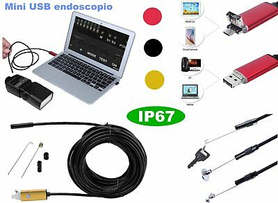 IP67 ENDOSCOPIO 6LED 5.5MM MINI ispezione fotocamera per Android PC USB 2/5m ES