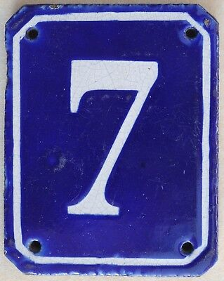 Old blue French house number 7 door gate plate plaque pottery stoneware sign C19