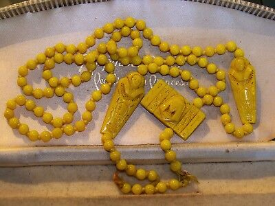 Vintage Max Neiger Art Deco Egyptian Revival Mummy Beads Necklace For Re-String