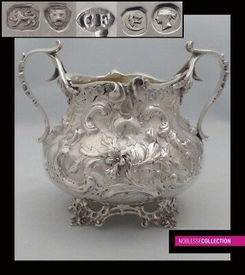 CHARLES FOX ANTIQUE VICTORIAN EMBOSSED STERLING SILVER SUGAR BOWL London 1840