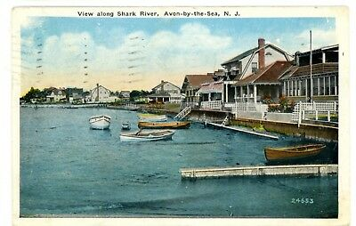 Avon by the sea new jersey sylvan hotel street view antique postcard avon by the sea nj view along shark river postcard sciox Images