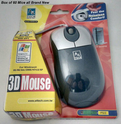 NEW Box of 60 PS2 BALL MOUSE MICE 3 BUTTON BLUE A4Tech QUALITY RELIABLE PRECISE