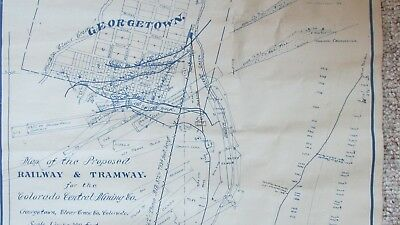 Rare 1910 Georgetown Colorado Proposed Railway & Tramway Map-Colo. Central Mine