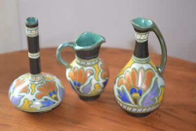 3 Perfect ROYAL ZUID Gouda POTTERY Signd METZ Vase Pitcher Creamer FOIL STICKERS