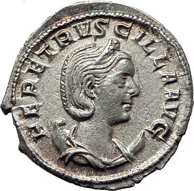 HERENNIA ETRUSCILLA 250AD Rome Authentic Ancient SIlver Roman Coin i65338