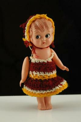 "Vintage Plastic Toy Celluloid Doll 7"" Tall Strung Arms Side Eye Made in Japan"