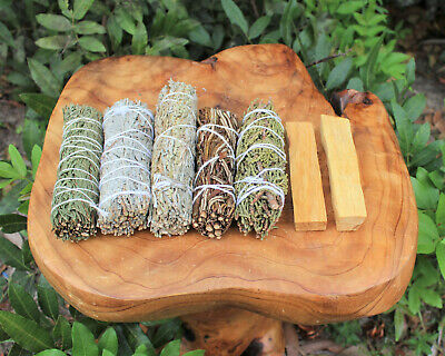 Palo Santo & Sage Smudge Stick SAMPLER Set White Black Blue Cedar Dragon Blood