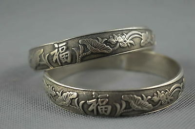 China Collectable Handwork Old Miao Silver Carve Blooming Flower Lucky Bracelet