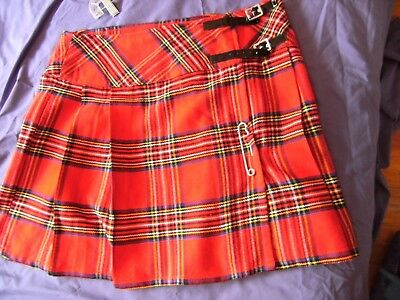 vintage 90s-00 womens kilt/skirt red tartan 'royal stewart ' with pin size 38