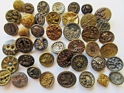Large Lot of 40+ Antique~ Vtg Metal BUTTONS Victorian Picture, Flowers, Perfume+