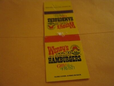 Vintage Wendy' s Old Fashioned Hamburgers Chili & Frosty empty Matchbook