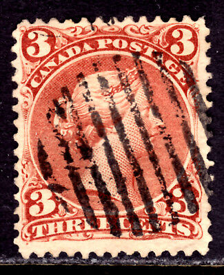 CANADA #25 3c RED, 1868 LARGE QUEEN, F, GRID