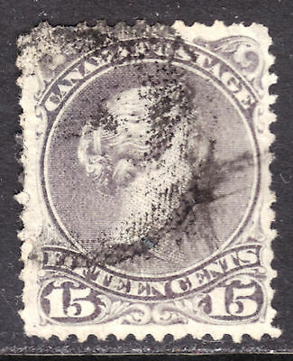 """CANADA #29c 15c GREY VIOLET, 1868 LARGE QUEEN Wmk. """"OT"""", F, USED"""