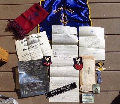 WW2 USN WAVES Grouping Discharge + Scarf + Pillow + ID Cards + Rates +