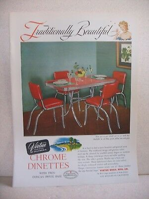 1950 CHROME DINETTE table by Virtue Brothers of California. original magazine ad