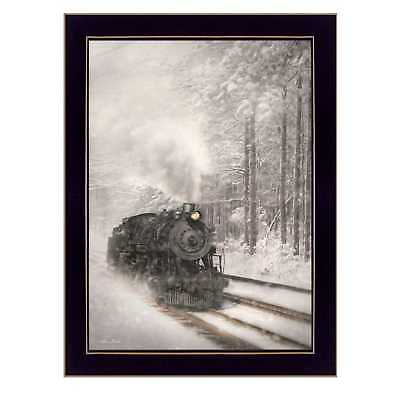 """Snowy Locomotive"" By Lori Deiter, Printed Wall Art, Ready To Hang Framed"