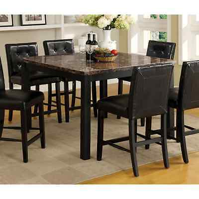 Furniture of America Perthien Contemporary Black Faux Marble Top 48-inch Counter