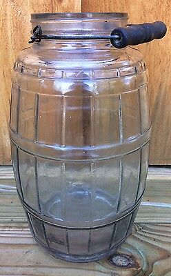Antique Vintage Extra Large Country Store Glass Pickle Barrel Jar with Handle