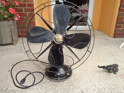 "Vintage R & M 16"" Oscillating 3 Spd Electric Fan 1930Ish  Looks Good Works Good"
