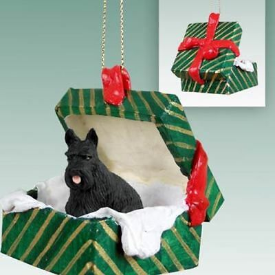 Scottish Terrier Dog Green Gift Box Holiday Christmas ORNAMENT