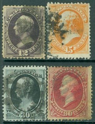 EDW1949SELL : USA 1873 Sc #162-63, 165-66 Used Very minor back faults Cat $745.