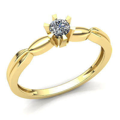 Natural 0.33ct Round Cut Diamond Ladies Forever One Engagement Ring 14K Gold