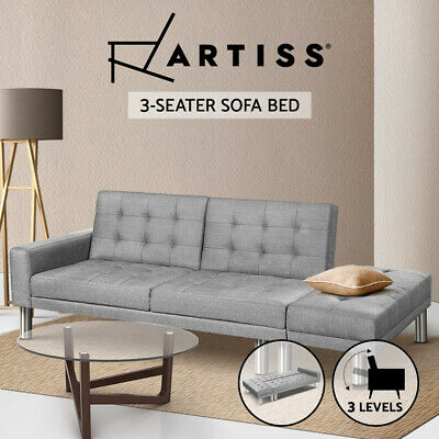 3 Seater Sofa Bed Linen Fabric Modular Recliner Lounge Futon Couch Ottoman Grey