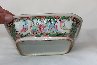 Chinese famille rose bowl box without lid 19th c century porcelain pottery