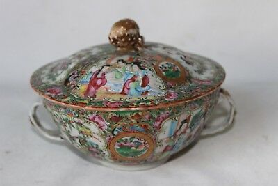 Chinese famille rose bowl with lid 19th c century porcelain pottery mandarin