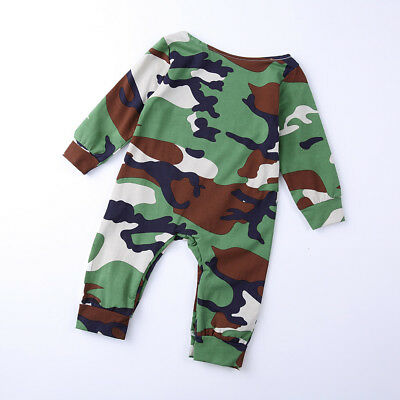 Newborn Infant Baby Boys Romper Bodysuit Jumpsuit Sunsuit Camouflage Clothes