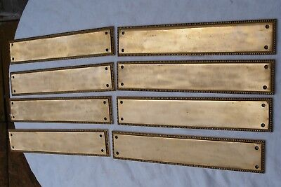 8 RECLAIMED VINTAGE ROPE EDGE BRASS DOOR FINGER PUSH PLATES - AS IS - 1 of 2