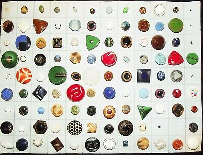 Antique Buttons Estate Lot Glass Buttons On Collector Card Dated 1947