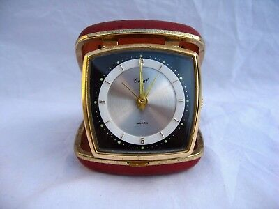 Art Deco Style Travel Alarm Clock By Coral Working Order Retro Vintage Stylish