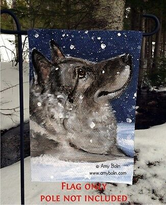 Norwegian Elkhound SENJA'S SNOW DAY 12 By 18 Garden flag no pole By Amy Bolin