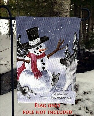 Norwegian Elkhound HIDE AND SEEK  12 By 18 Garden flag no pole By Amy Bolin