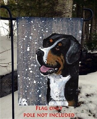 GREATER SWISS MOUNTAIN DOG SWISSY 12x18 GARDEN FLAG no pole Amy Bolin