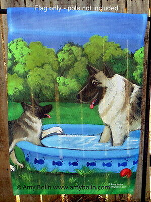 Norwegian Elkhound Summer 12 By 18 Garden flag no pole By Amy Bolin wading pool