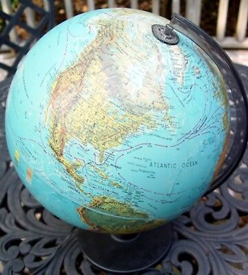 "Vintage 1987 SCAN-GLOBE A/S WORLD 12"" ILLUMINATED GLOBE w/ Base from DENMARK"