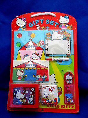 NIMSP 1976 Sanrio Japan HELLO KITTY GIFT SET Jewelry Box Notebook Comb Memo Pad