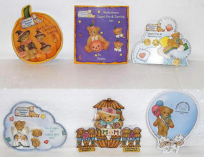 Cherished Teddies Lot of 6 Jewelry Pieces 1 Pin + 5 Pins with Earrings Sets NEW