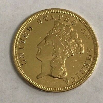 1854 U.S $3 Gold Piece *XF/AU Details* 1st Year of Issue!